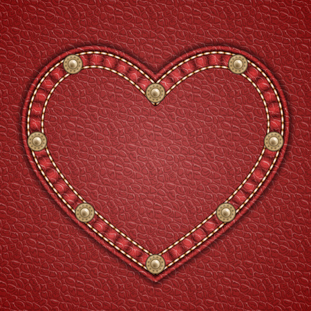 Heart shaped patch with rivets on leather background. Vector illustration  イラスト・ベクター素材