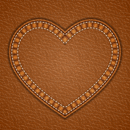 Heart shaped patch on leather background. Vector illustration