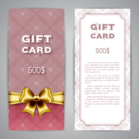 golden ribbon: Gift card template with golden ribbon and bow. Vector illustration