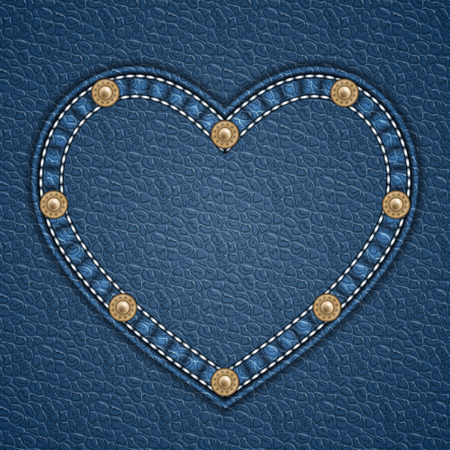Heart shaped patch with rivets on leather background. Vector illustration Illustration