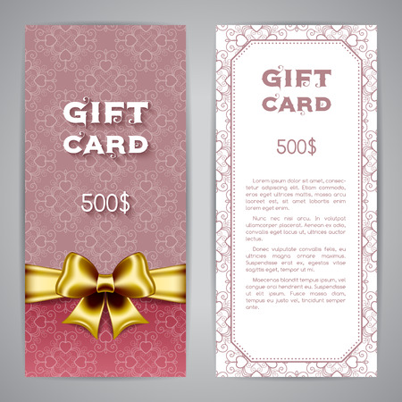 Gift card template with golden ribbon and bow. Vector illustration