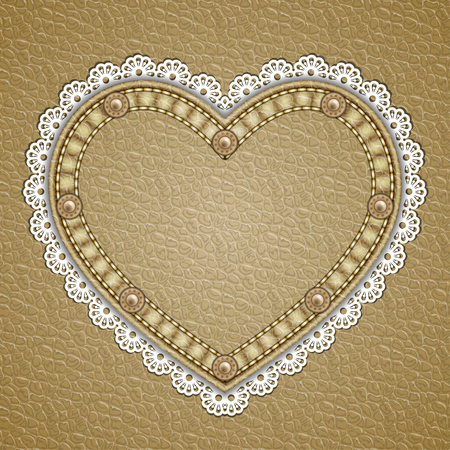 Heart shaped patch with rivets and lace border on leather background. Vector illustration  イラスト・ベクター素材