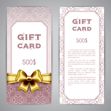prepaid: Gift card template with golden ribbon and bow. Vector illustration