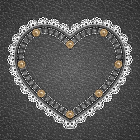 currying: Heart shaped patch with rivets and lace border on leather background. Vector illustration Illustration