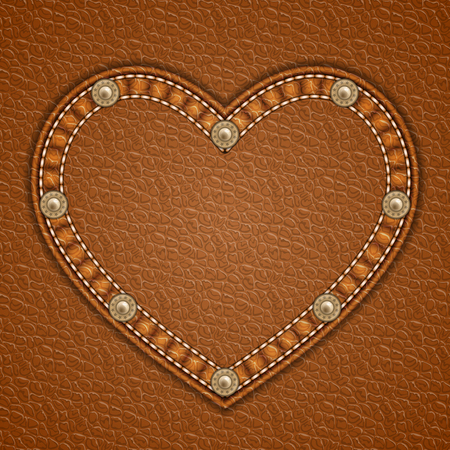 currying: Heart shaped patch with rivets on leather background. Vector illustration Illustration