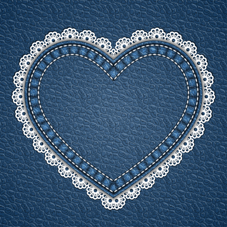 Heart shaped patch with lace border on leather background. Vector illustration  イラスト・ベクター素材
