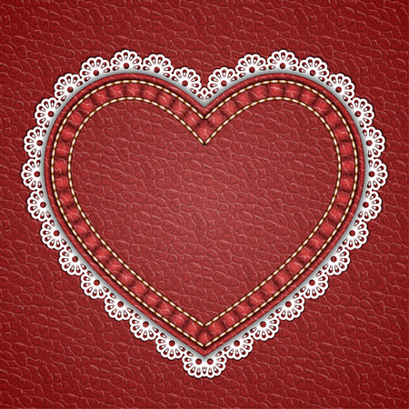 Heart shaped patch with lace border on leather background. Vector illustration Illustration