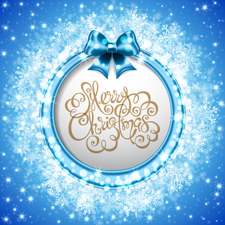 Blue Christmas background with blue ribbon and bow, snowflakes, sparks and bokeh. Hand drawn lettering. Vector illustration Illustration