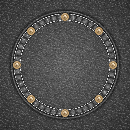 currying: Round patch with rivets on leather background. Vector illustration