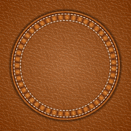 Round patch on leather background. Vector illustration