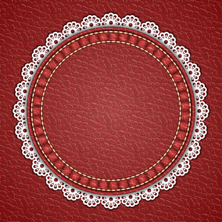 Round patch with lace border on leather background. Vector illustration