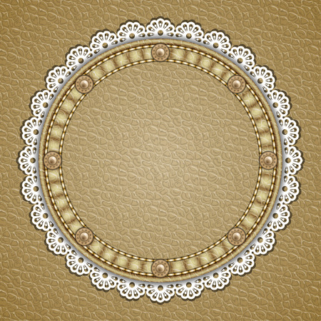 currying: Round patch with rivets and lace border on leather background. Vector illustration