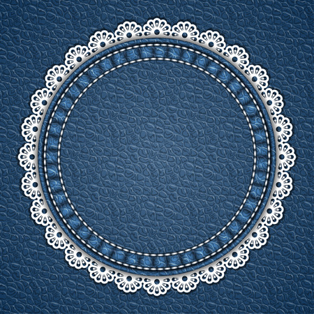 currying: Round patch with lace border on leather background. Vector illustration