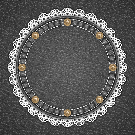 rivets: Round patch with rivets and lace border on leather background. Vector illustration