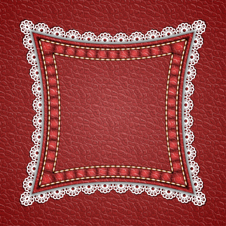 Square patch with lace border on leather background. Vector illustration  イラスト・ベクター素材