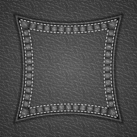 currying: Square patch on leather background. Vector illustration