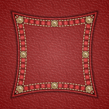 currying: Square patch with rivets on leather background. Vector illustration