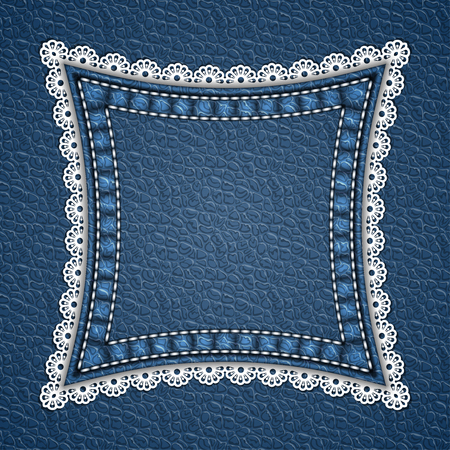 Square patch with lace border on leather background. Vector illustration Illustration