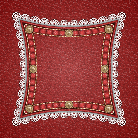 rivets: Square patch with rivets and lace border on leather background. Vector illustration