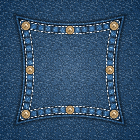 rivets: Square patch with rivets on leather background. Vector illustration
