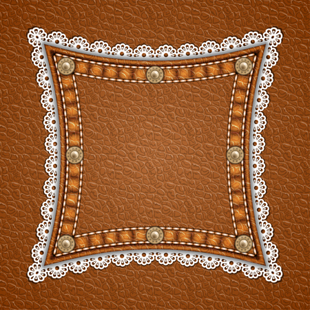 Square patch with rivets and lace border on leather background. Vector illustration
