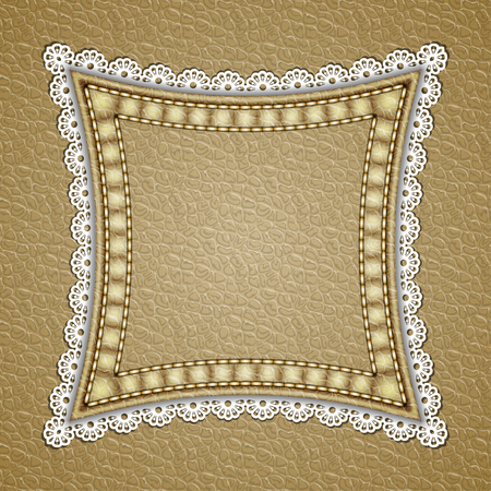 currying: Square patch with lace border on leather background. Vector illustration Illustration