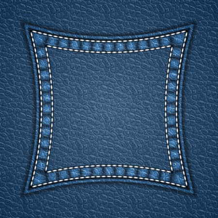 Square patch on leather background. Vector illustration