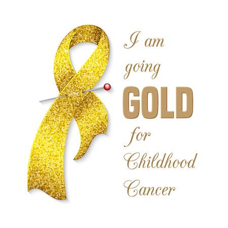 childhood cancer: Childhood cancer awareness ribbon. Poster or banner template. Vector illustration Illustration