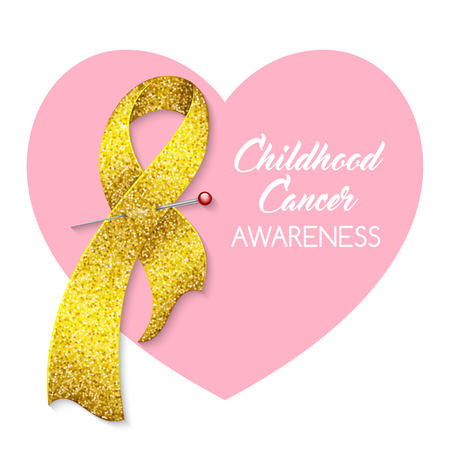 Childhood cancer awareness ribbon. Poster or banner template. Vector illustration Ilustração