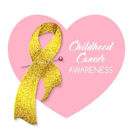 Childhood cancer awareness ribbon. Poster or banner template. Vector illustration Illustration