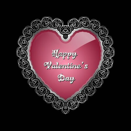 silver frame: Heart-shaped silver frame with lace border. Valentines Day greeting card. Vector illustration