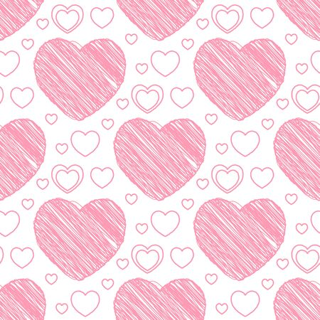 scribble: Seamless pattern with scribble hearts. Vector illustration Illustration