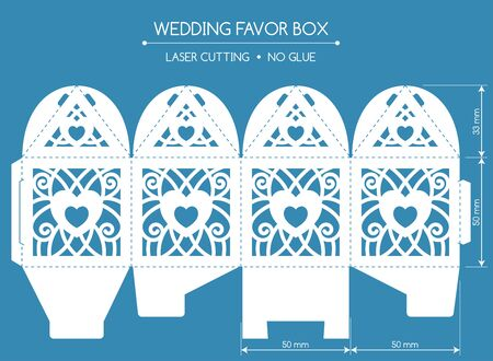felicitation: Openwork favor box with a lace ornament. Wedding bonbonniere. Laser cutting Illustration