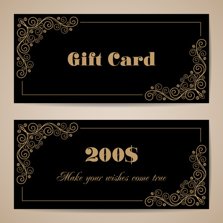 prepaid card: Gift card template with calligraphy design elements on black background. Vector illustration
