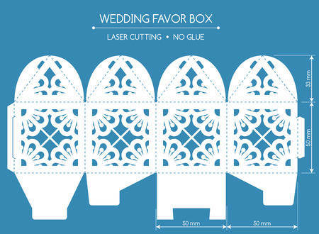 laser cutting: Openwork favor box with a lace ornament. Wedding bonbonniere. Laser cutting Illustration