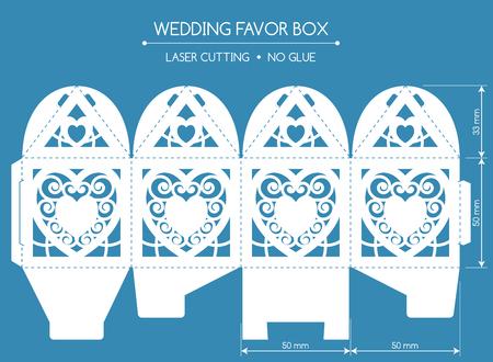 corte laser: caja del favor de calado con un adorno de encaje. bonbonniere boda. El corte por láser