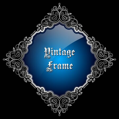 silver frame: Vintage decorative silver frame with place for text. Vector illustration
