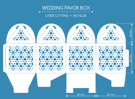 bonbonniere: Openwork favor box with a lace ornament. Wedding bonbonniere. Laser cutting Illustration
