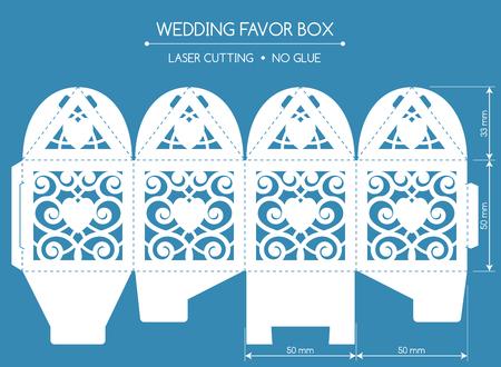 透かしは、レース飾りとボックスに賛成です。結婚式の菓子屋。レーザー切断