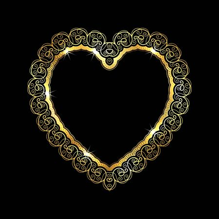 Heart-shaped golden frame with lace border. Valentines Day greeting card. Vector illustration