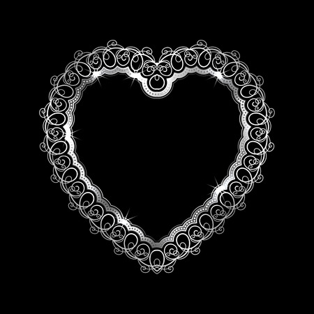 Heart-shaped silver frame with lace border. Valentines Day greeting card. Vector illustration