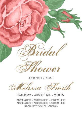 Bridal shower or wedding invitation with roses. Vector Illustration Illustration