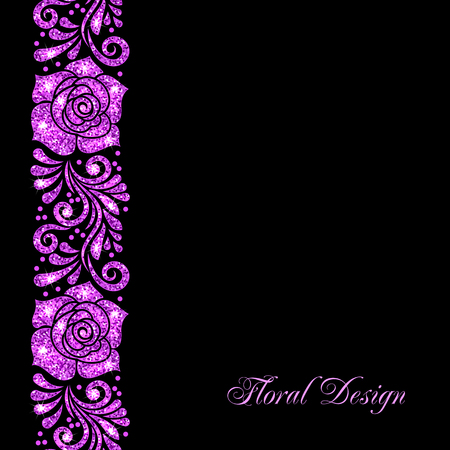 Stylized floral ornament made of purple shiny confetti. Vector illustration Illustration
