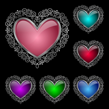 Glossy heart in a silver rim. Vector Illustration for Valentines Day greeting card