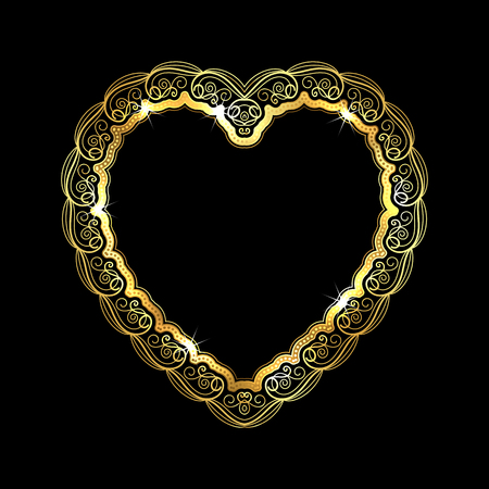 appointments: Heart-shaped golden frame with lace border. Valentines Day greeting card. Vector illustration
