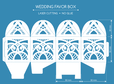 Openwork favor box with a lace ornament. Wedding bonbonniere. Laser cutting Illustration