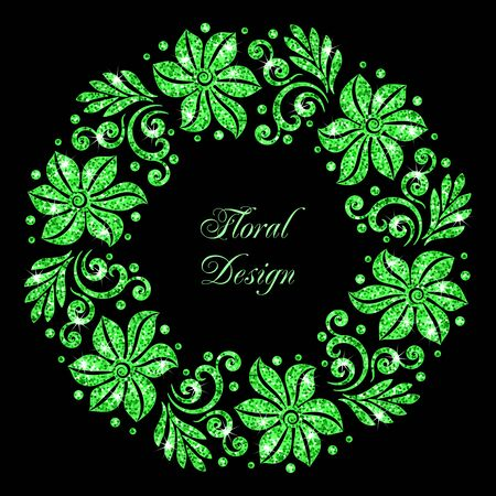 Stylized floral ornament made of green shiny confetti. Vector illustration Illustration