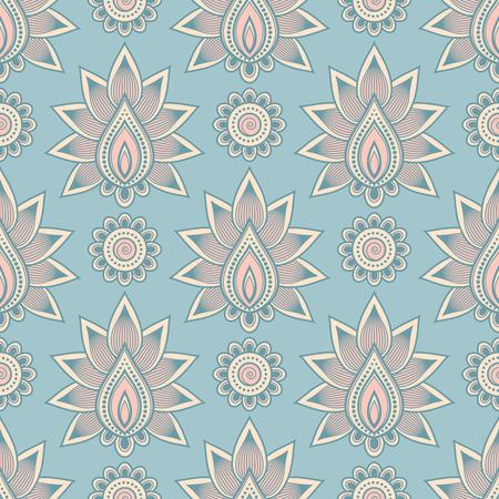 Seamless asian ethnic floral pattern. Mehndi design. Vector illustration