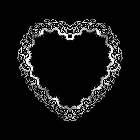 appointments: Heart-shaped silver frame with lace border. Valentines Day greeting card. Vector illustration