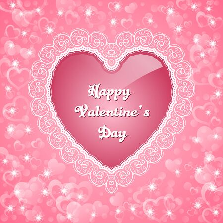 Heart-shaped frame with lace border. Valentines Day greeting card. Vector illustration